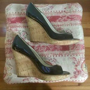 Aldo patent leather peep toe wedges